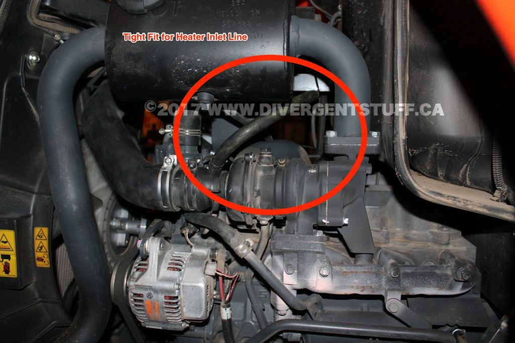 This image shows the Heater Inlet Line path between the turbo charger and muffler