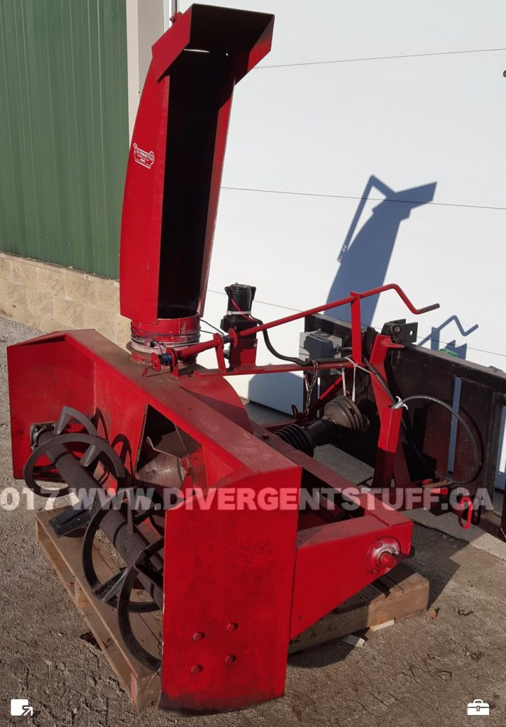 Agro-Trend 3 point hitch snowblower mounted to front end loader quick attach 3PH adapter with hydraulic PTO side view